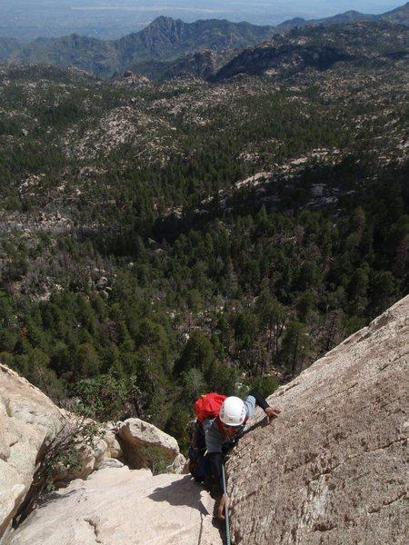 Rock Climbing Photo: Finishing the third pitch of Black Quacker.  photo...