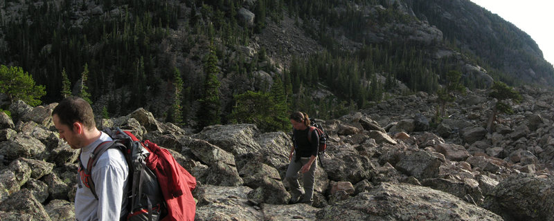 Rock Climbing Photo: Hiking up the talus field. Does this count as an a...