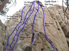 Rock Climbing Photo: Photo/topo for Castle Rock (SW Face),  Castle Rock...