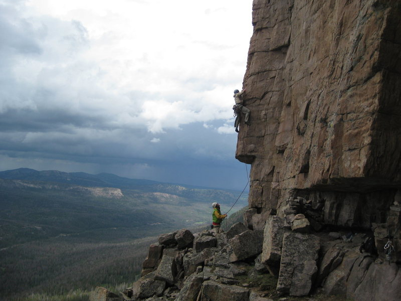 Wyld Stallyns 5.10. The Most Excellent Crag. Hayden Peak. Nice storm clouds! Got rained out big time shortly after this photo was taken.<br> <br>