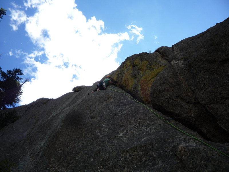 Rock Climbing Photo: CM leading the 1st pitch.
