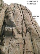 Rock Climbing Photo: Photo/topo for Castle Rock (S. Face), Castle Rock