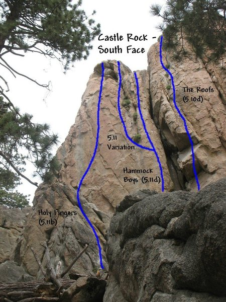 Photo/topo for Castle Rock (S. Face), Castle Rock
