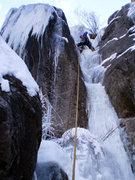 Rock Climbing Photo: Leading lower pitch, late January, 2010.