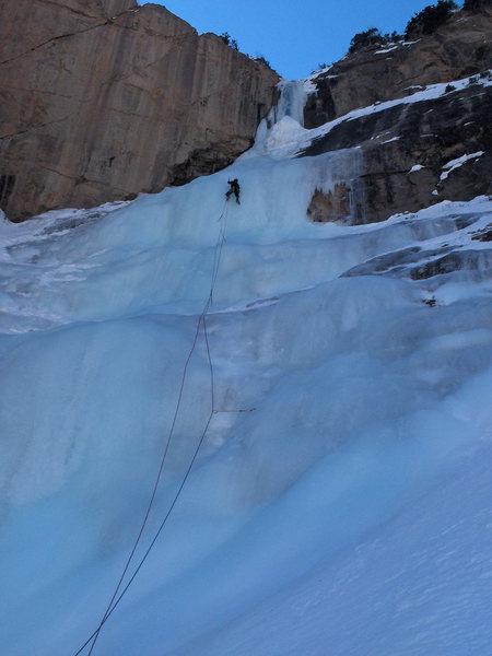 Rock Climbing Photo: Abe leading pitch 2.