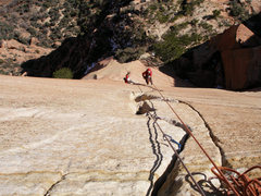 Rock Climbing Photo: Adam and Ian jug to the top of the aid pitch on th...