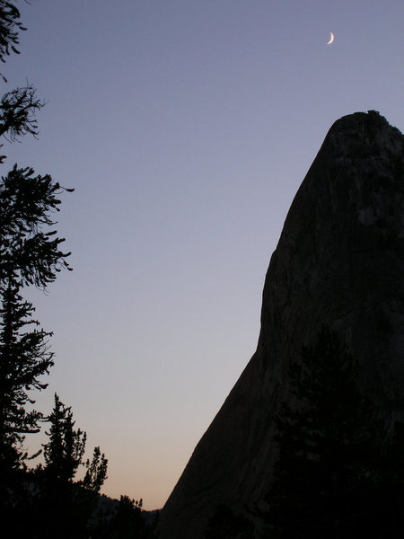 Rock Climbing Photo: moon over Charlotte Dome