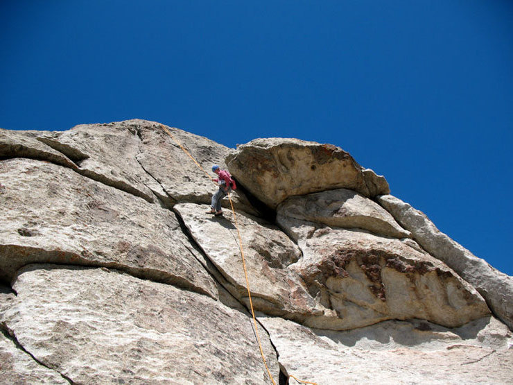 """Brokedownclimber"" rappelling next to Flake Route."