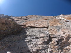 Rock Climbing Photo: Looking up at Curving Vine, pitch 2 goes left. D7 ...