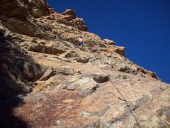 Rock Climbing Photo: Rope marks the bolted route.  Skipped one clip.
