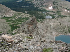 Rock Climbing Photo: Looking down Crescent Ridge. Keplinger Lake is to ...