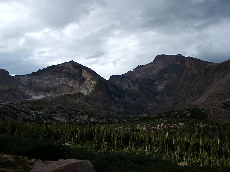 Pagoda from the south and the Crescent Ridge. Long's Peak and the Palisades are to the right.