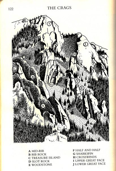 Rock Climbing Photo: Overview in art - 1986 - from the Kimball 'stars' ...