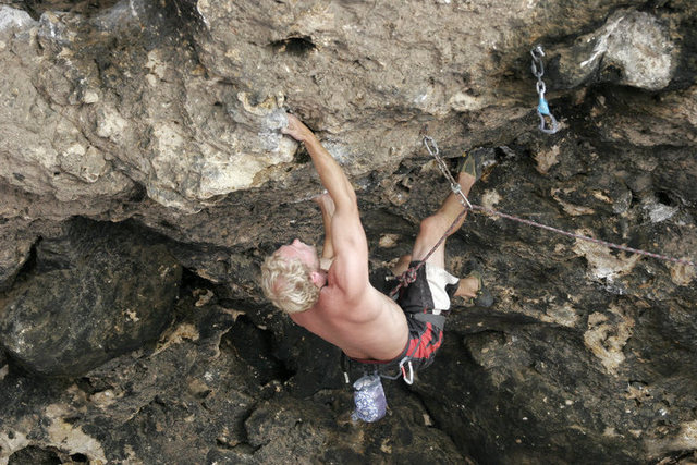 Mostly through the first crux on Leper, probably V6 or so.  A great rest awaits in the next pod.