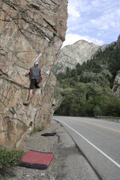 Rock Climbing Photo: Cam nearing the mental crux