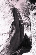 Rock Climbing Photo: They showed me to wedge my foot up in there for le...