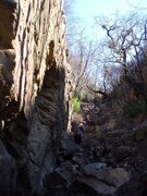 Bizarre features in the sandstone gully on the approach to Yardsale.