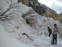 Rock Climbing Photo: An avalanche covered the trail behind us a couple ...