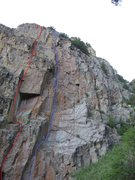 Rock Climbing Photo: Red - Top Flite Blue - Splinted and Screwed