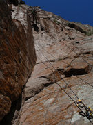 Rock Climbing Photo: Looking up at the curving corner of the second pit...