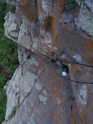 Rock Climbing Photo: Catching a quick breather right before the crux be...