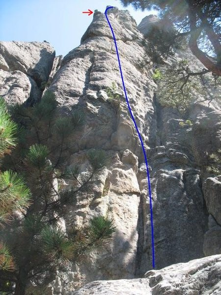 Rock Climbing Photo: Route line with the block indicated by the red arr...