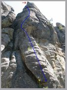 Rock Climbing Photo: Line of route, with block to be avoided indicated ...