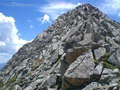 Rock Climbing Photo: The ridge above the ramp on Camino de Cabra.