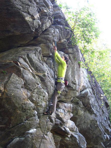 Rock Climbing Photo: J. Dias clips the crux draw on 'Yoda'.