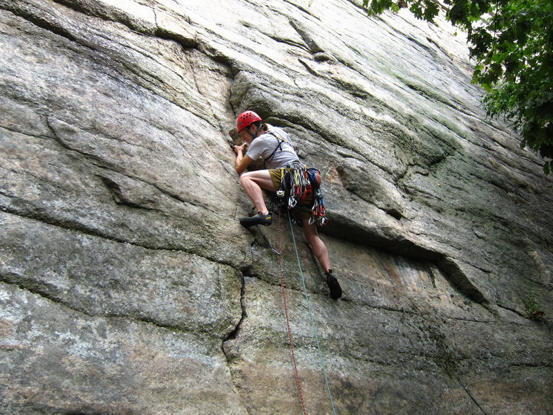 Starting up 'Son of Easy O' at the Gunks.
