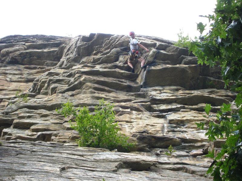 Fully upside down and horizontal...5.8 climbing at the Gunks.