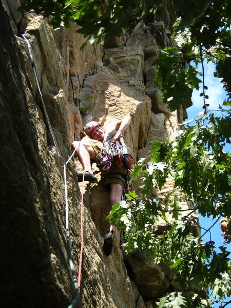 Starting up the second pitch of Madame G's at the Gunks....a full 140 feet of overhanging, 5.6 jugs.