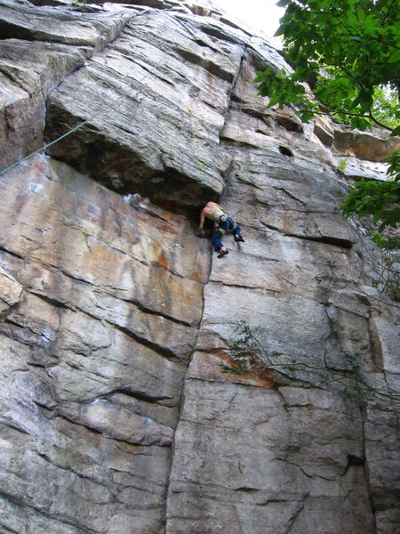 J. Dias follows 'Nosedive' (5.10) at the Gunks.