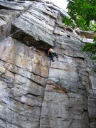Rock Climbing Photo: J. Dias follows 'Nosedive' (5.10) at the Gunks.