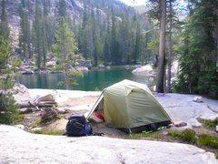 Rock Climbing Photo: Our camp at Saddleback Lakes