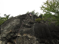 Rock Climbing Photo: Taylor after the sustained crux and beginning to c...