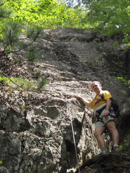 Rock Climbing Photo: That's me, 'Pork Barrel Brad' below my newest clim...
