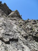 Rock Climbing Photo: John nears the top of the 2nd pitch (actually Soli...
