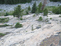 Rock Climbing Photo: Looking down the first 3 pitches. A 70m easily mak...