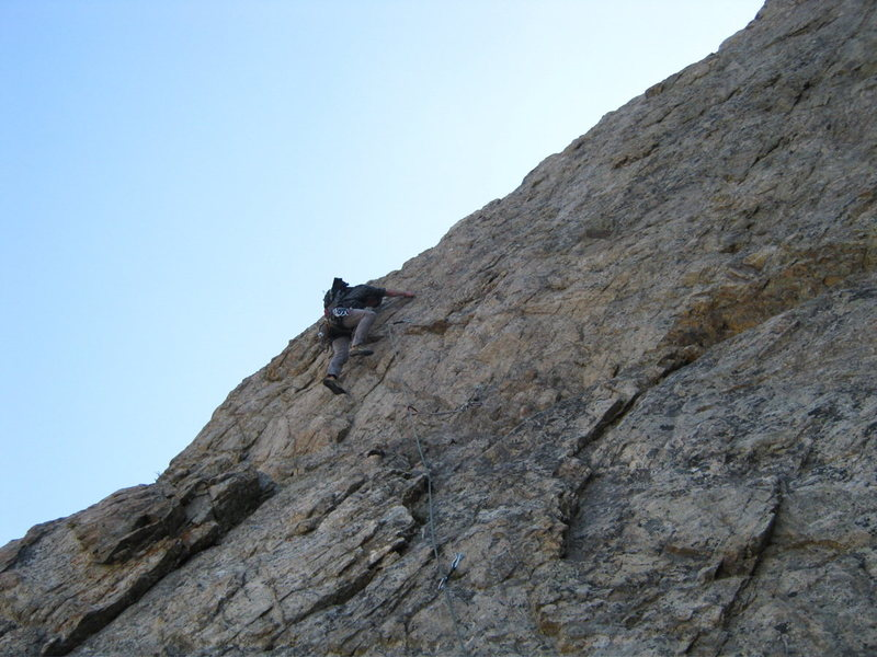 Rock Climbing Photo: CJ nearing the top of the route, pitch 16 maybe. T...
