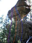 Rock Climbing Photo: Purple - Unknown (5.9+). Orange - Unknown (5.10b)....