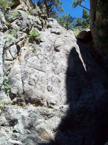 Rock Climbing Photo: Left and above Mine Hole 5.4 mixed and 5.9 4 bolts...