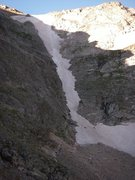 Rock Climbing Photo: View of current conditions (8/14/10). Hard snow at...