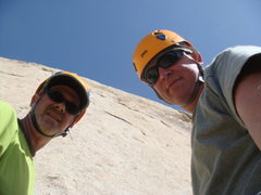 Grant Lowe and myself coming down from doing          Walking on the Wildside Joshua Tree April 2010