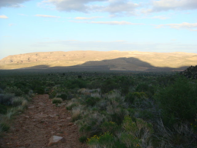 Dusk approaching while descending from Rainbow Mtn Red Rock April 2010.