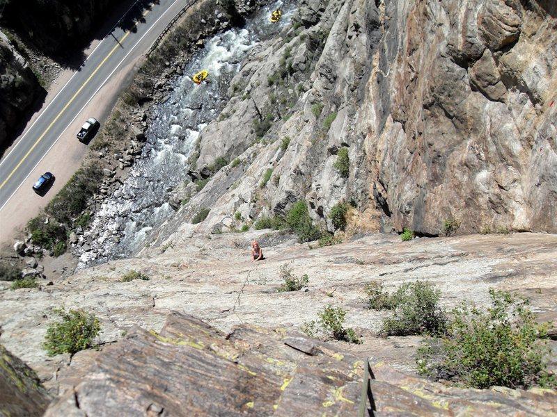 Rock Climbing Photo: As Brenda starts up pitch 4, far below the rafts p...