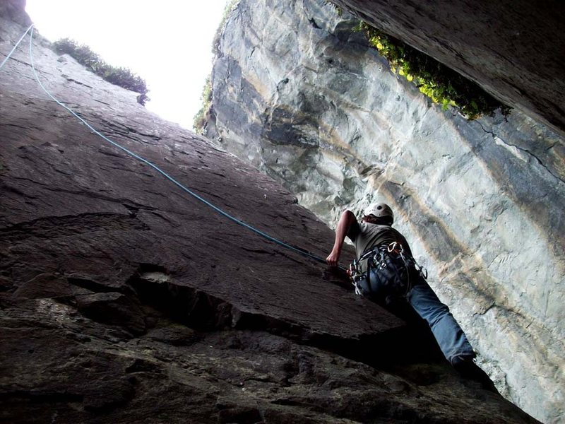 Centipede (5.9) on TR above first bolt. If leading this route a fall would ground out and second bolt is two spooky moves higher (5.6ish). Bolts are getting old (pic = 2010) and sorta scary.