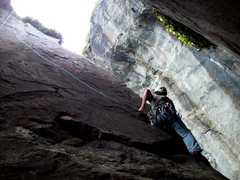 Rock Climbing Photo: Centipede (5.9) on TR above first bolt. If leading...