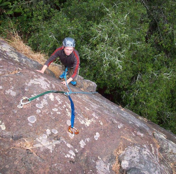 Rock Climbing Photo: Last couple of moves to the nice 2-bolt anchor (ea...