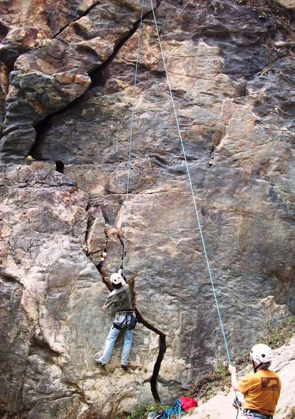 Rock Climbing Photo: Tim's Crack first few moves. Easy at first but inc...